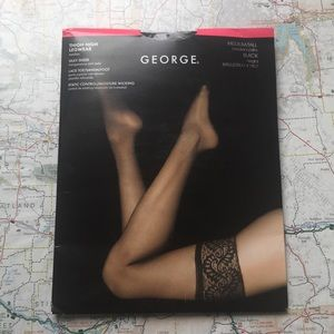 NWT George, Black Thigh High Pantyhose, Medium